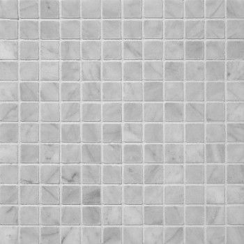 1x1 Bianco White Honed Square Mesh Mounted Marble Mosaic Tiles