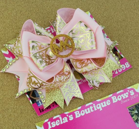 Gold/pink MK Inspired Boutique Bow