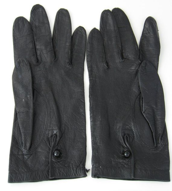 Italian Black Leather Gloves For Macys Glass Button 1960s Italy Soft Kid Leather Fashion
