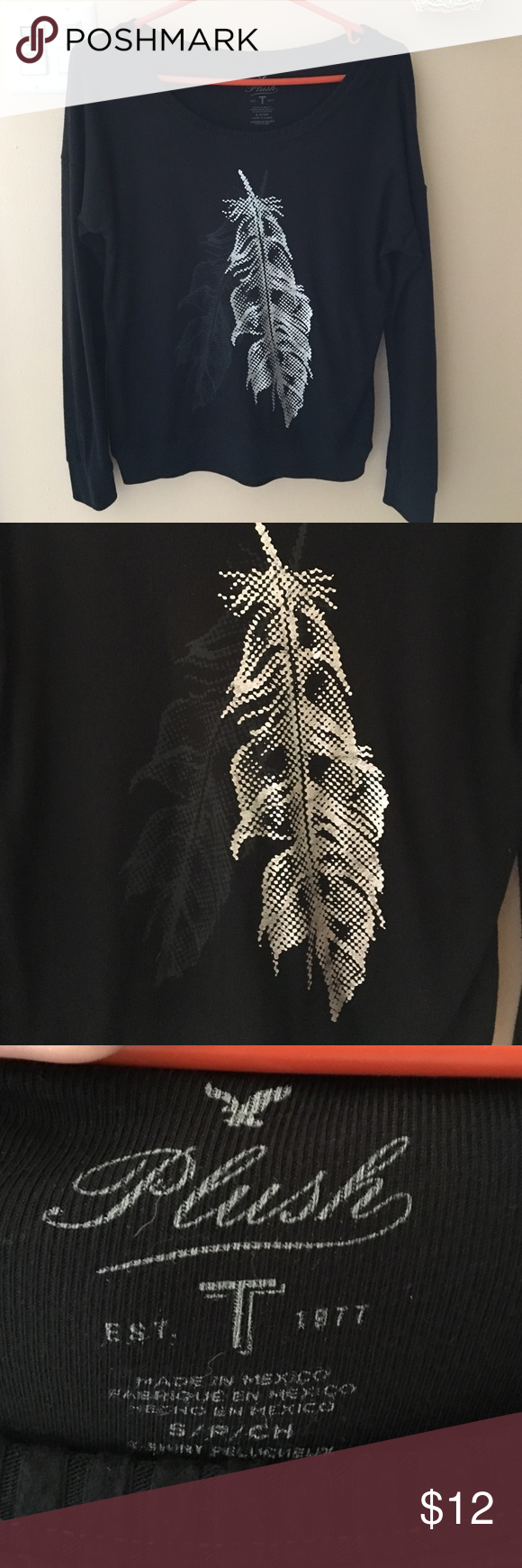 American Eagle Super Soft Tee SOOOO SOFT!! Barely worn. No rips or flaws. Cute feather detailing. American Eagle Outfitters Tops Tees - Long Sleeve