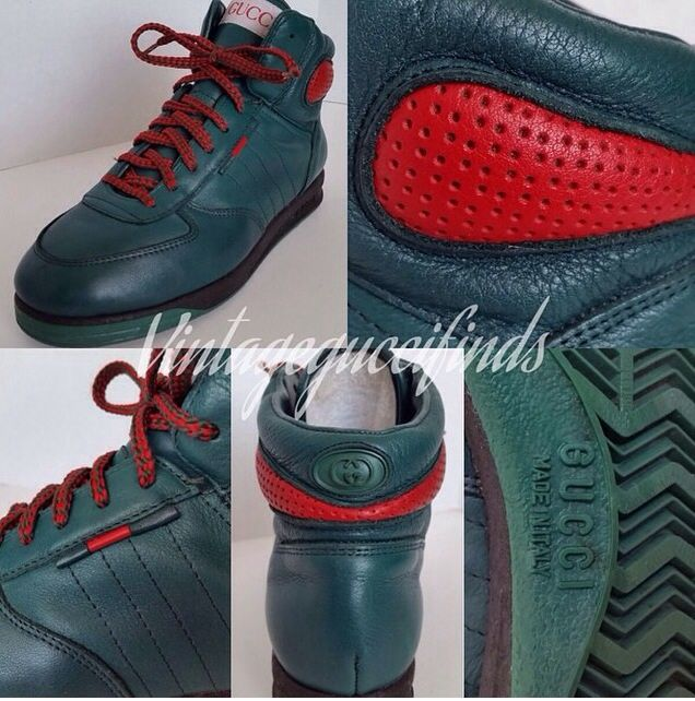 6dfb66bd1d752 Rare vintage gucci green high top sneakers from the early 90's ...