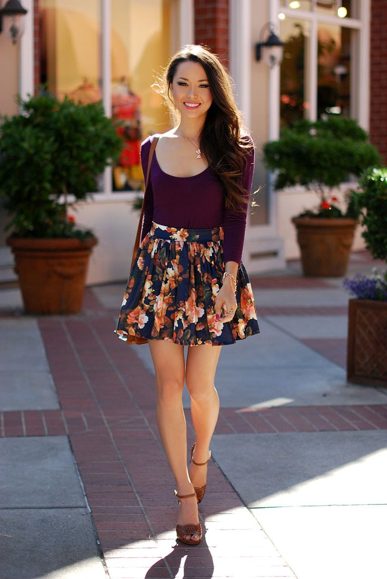 floral circle skirt outfit: very recreate-able! | Fashion Desires ...
