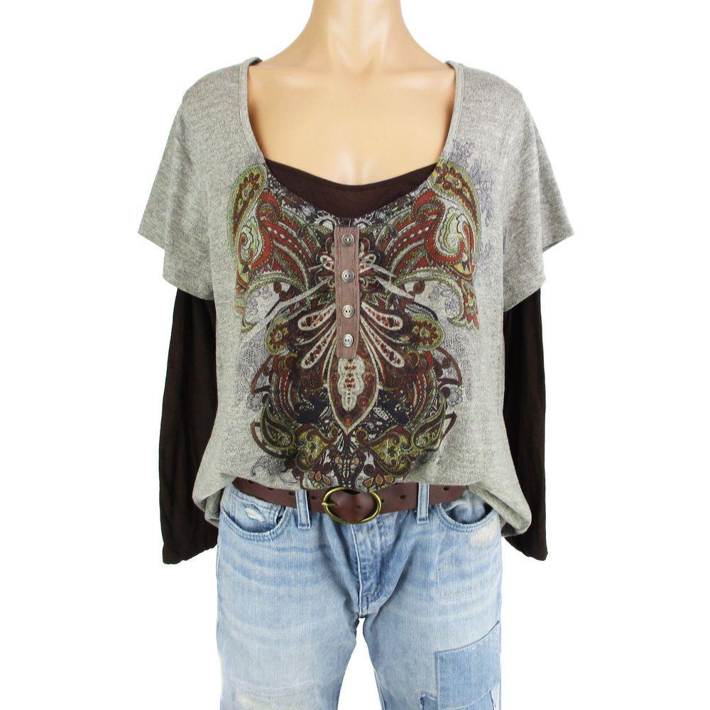 6cb27771080aa6 One World 1X Tunic Top Shirt Plus Size Womens Paisley Long Sleeve Layered  Look  OneWorld  Blouse  Casual