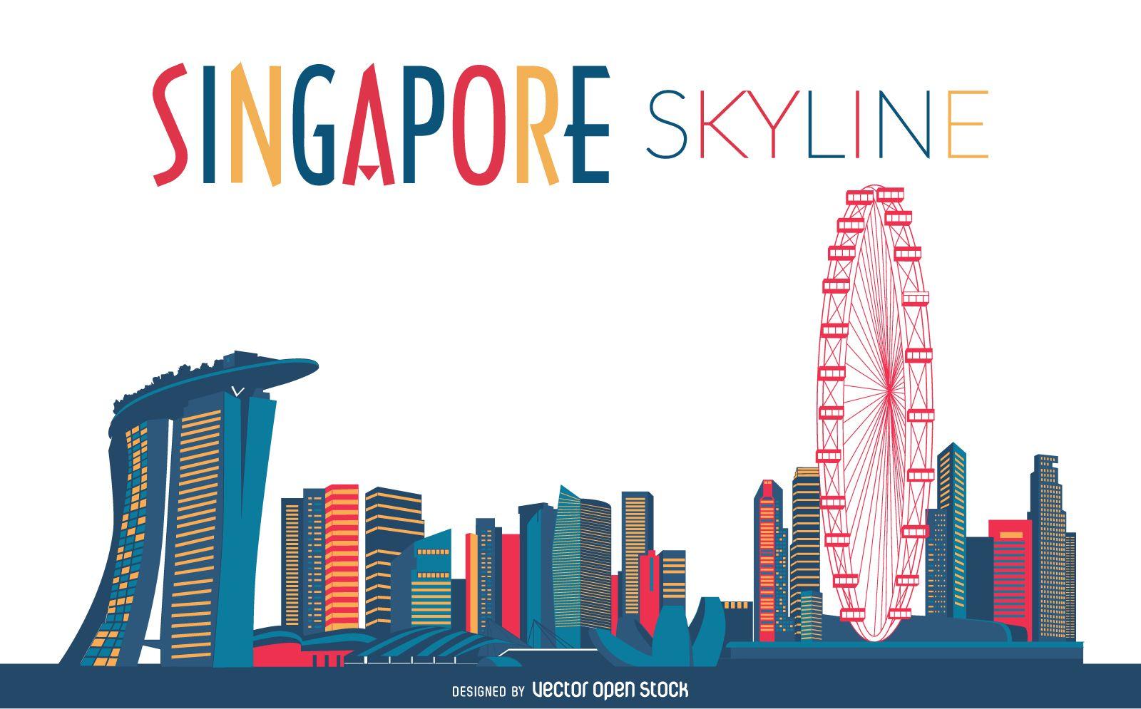 Singapore Skyline Silhouette Skyline Silhouette Skyline Drawing Singapore Art