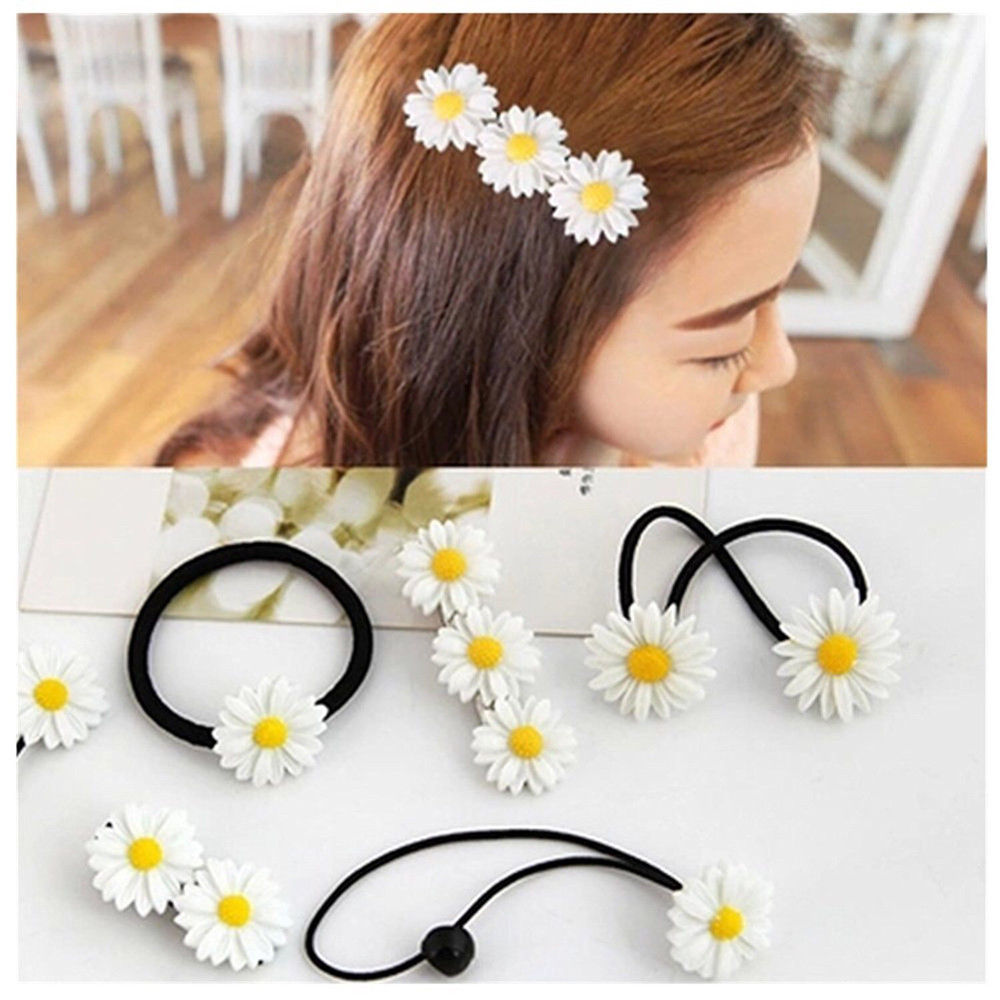 Daisy Elastic Hair Ring Rope Bands Hair Clips Ponytail Holder For Girl Kids Baby