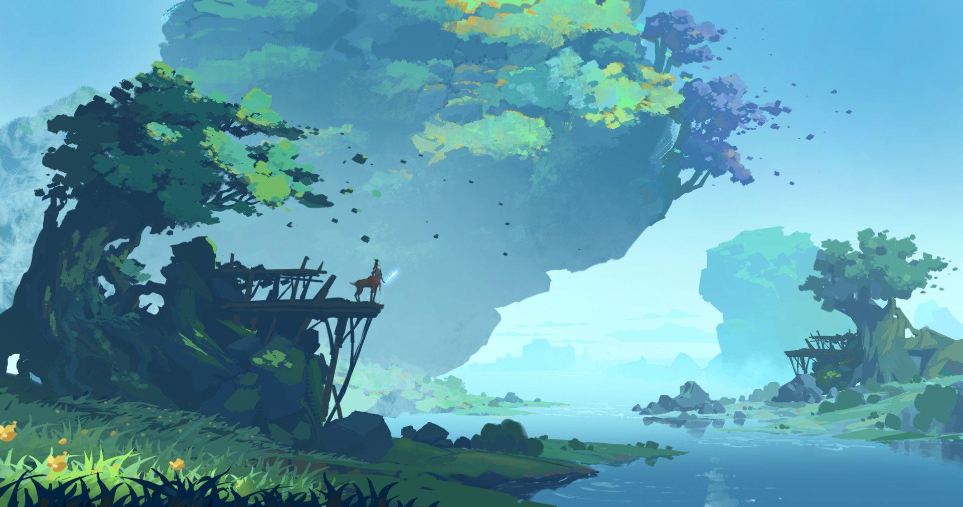 Artstation Quiet Lake Jinze Huang Landscape Art Fantasy Landscape Environment Painting