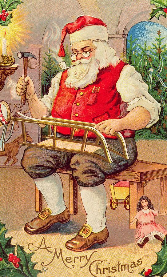 Santa S Workshop By English School Christmas Postcard Vintage Christmas Animated Christmas