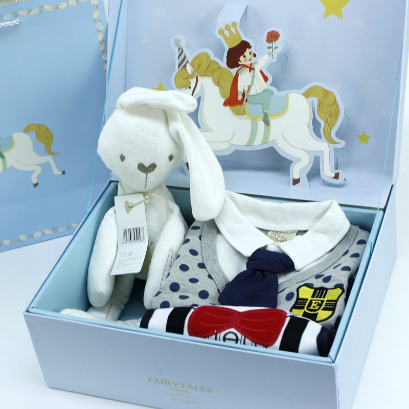 2017New 4pcs Baby Clothes Set Little Gentleman Set Boys Bibs Comfort Rabbit Doll Infant Newborn Full Moon Birthday Gift