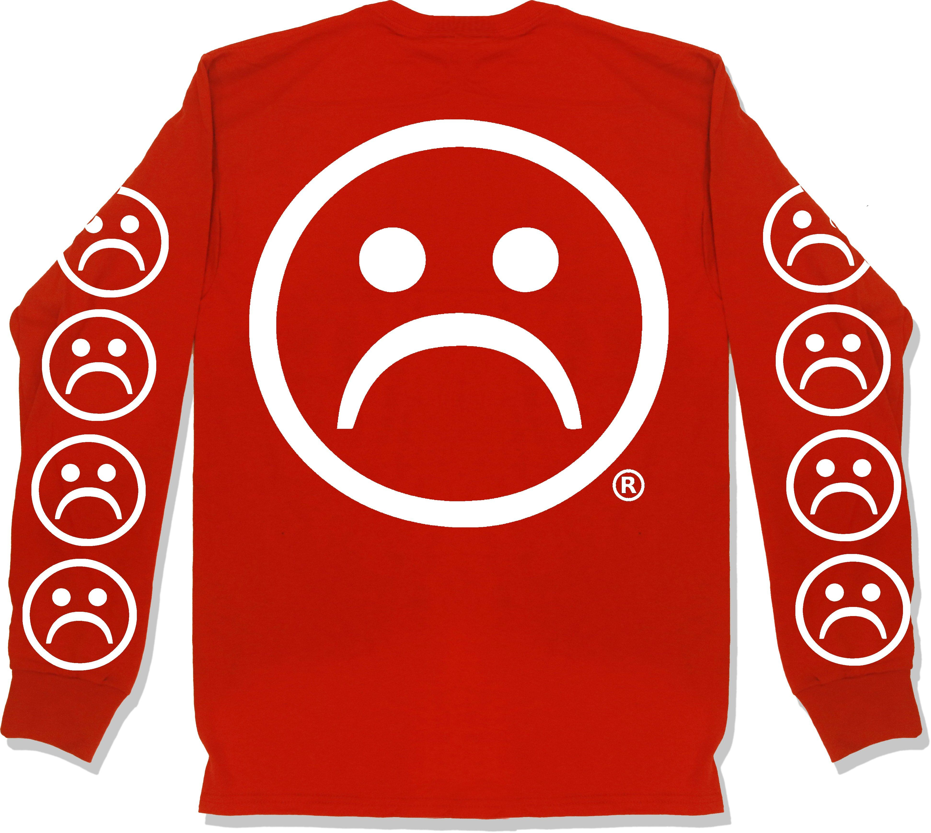 cb22dfba5840 The Sad Society™ Sad Face™ Red Long Sleeve T Shirt