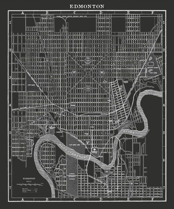 Edmonton Map Vintage Edmonton map print Vintage Canada