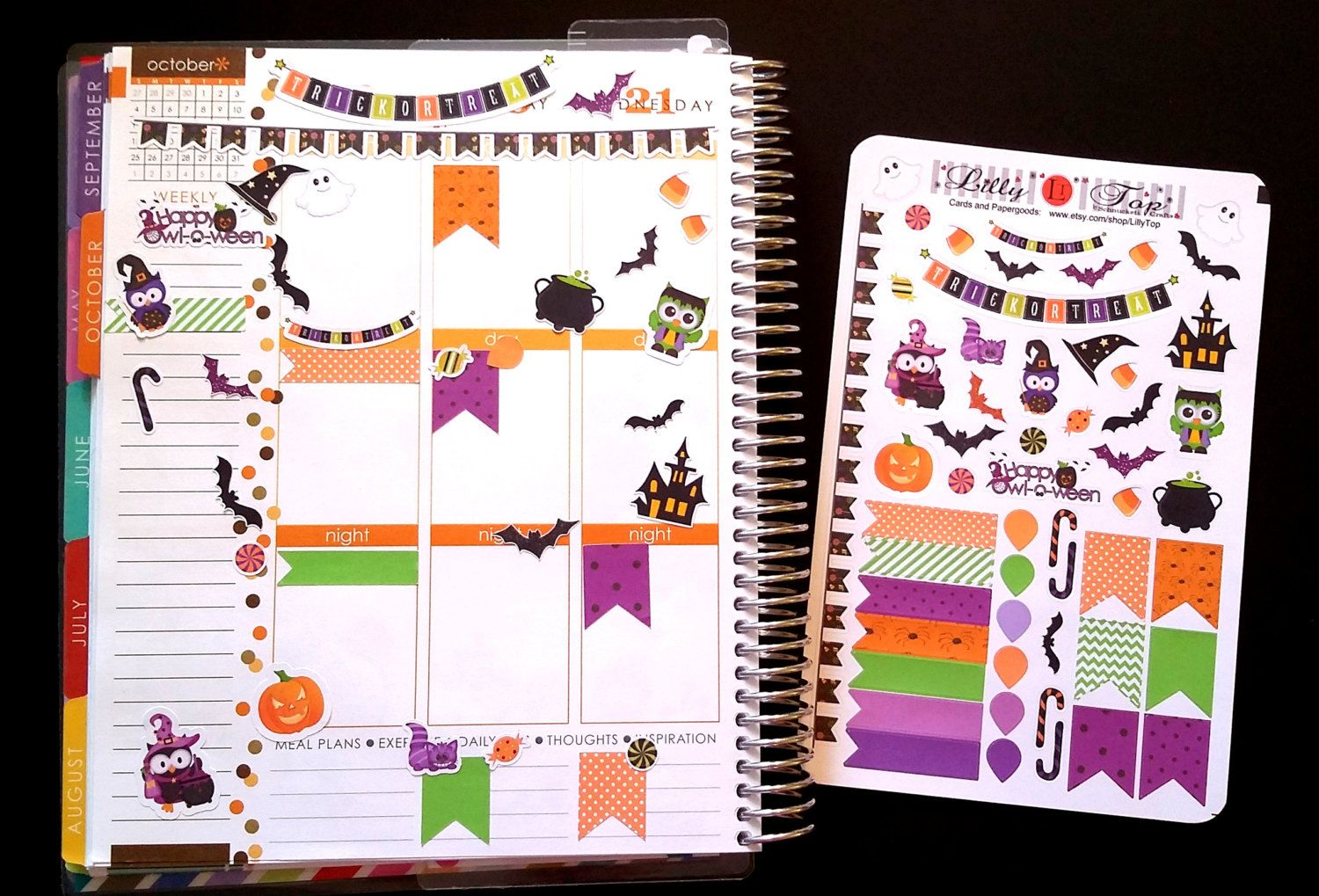 halloween, fits erin condren® and others, planner stickers, kiss cut