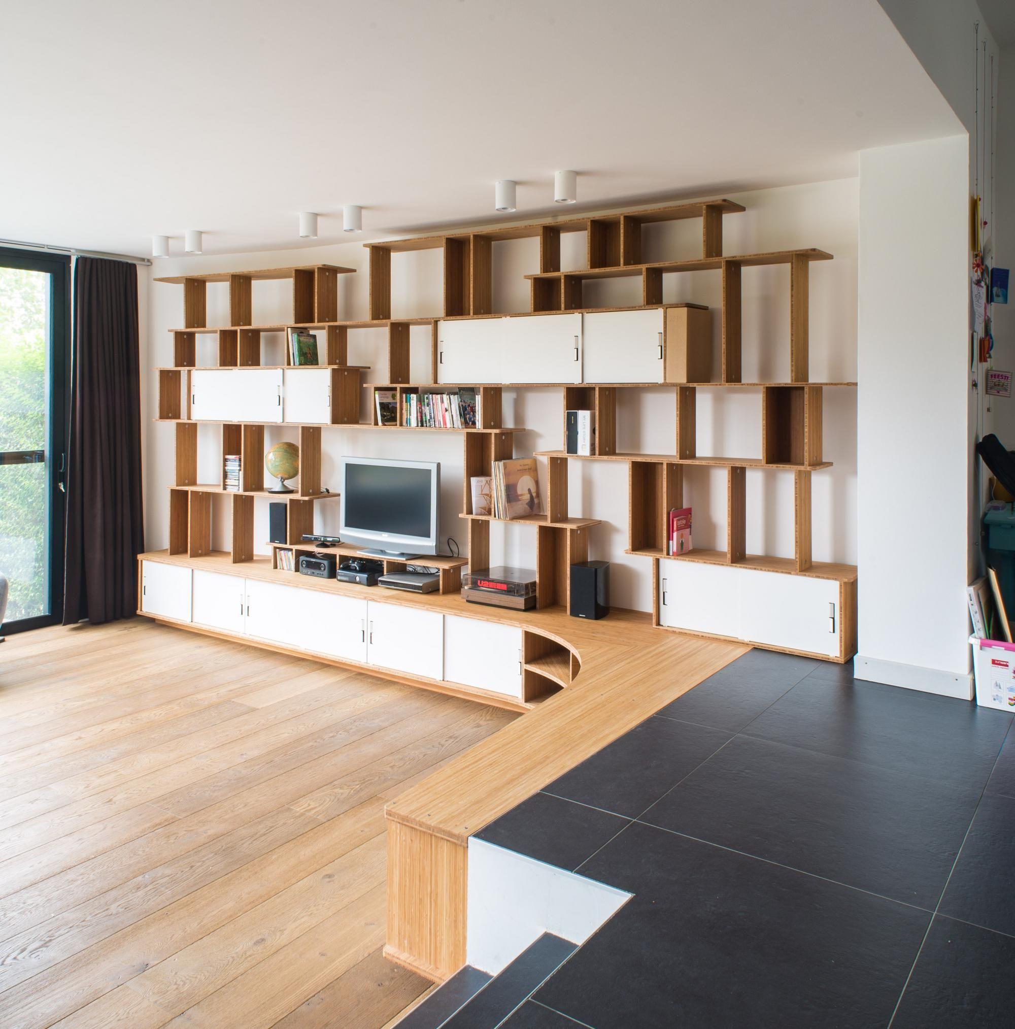 grande bibliothque meuble tv en bois avec rangements ferms par des portes coulissantes en acier blanc - Grand Meuble Tv Bibliotheque