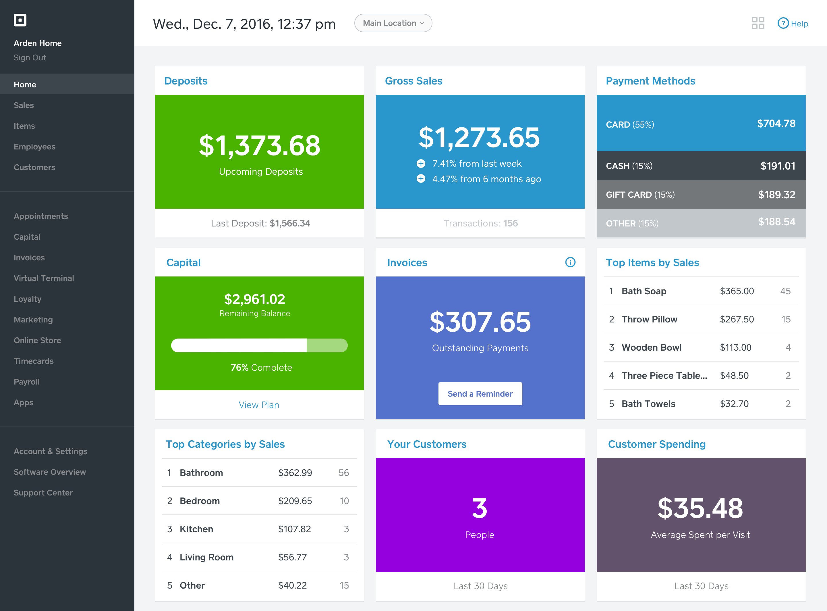 Square Dashboard Overview | Squares, Support center and App design