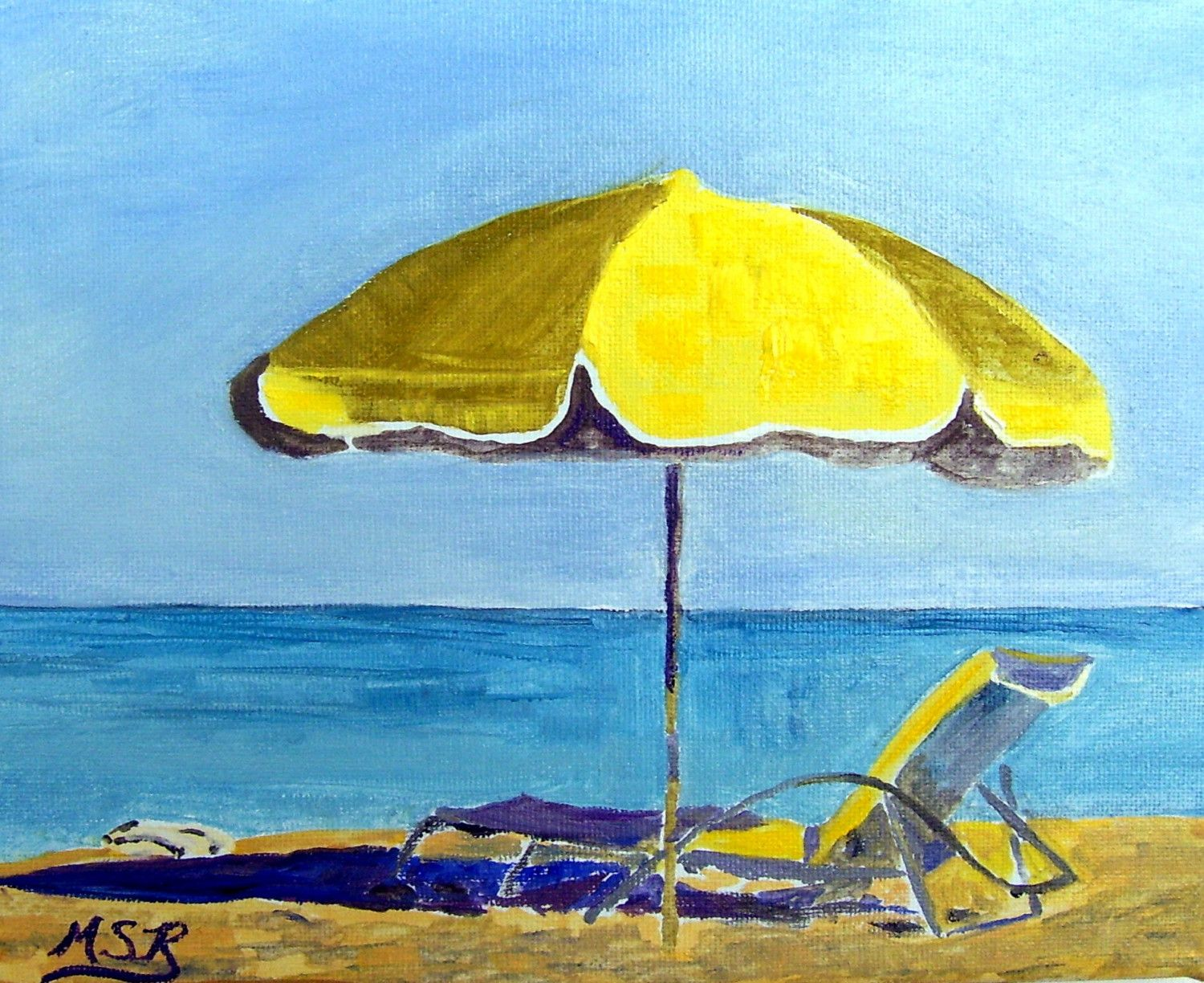 Miami Beach Yellow Umbrella and Lounge Chair Seascape Oil Painting – Lounge Chair Umbrella