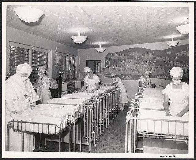 Nursery at Saint Joseph Hospital, Burbank, California, 1950s ...