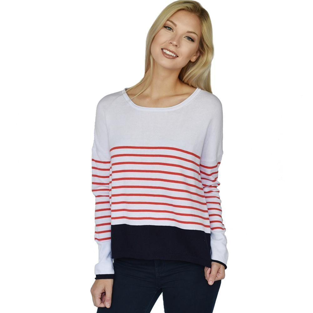 Zoe Stripe - Soft Cotton Sweater (Coral/Navy) | Coral navy, Coral ...