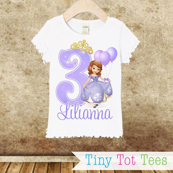 Sofia the First Girl's Fit Ruffle Edge Birthday by TinyTotTees