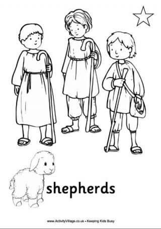 Nativity Colouring Pages The Shepherds I Christmas
