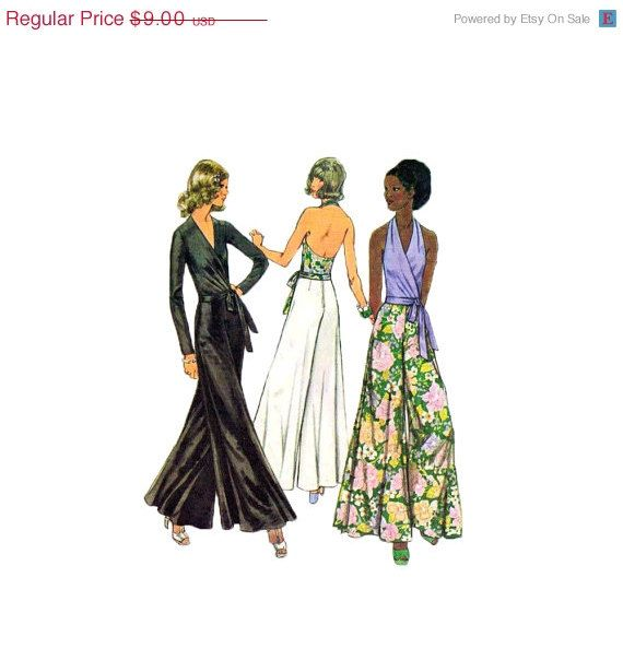 25% OFF 1970s Palazzo Pants Wrap Surplice Halter Pattern Wide Leg Evening Pants Size 8 Bust 31.5 Simplicity 5355 #etsy #sewingpattern