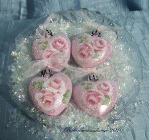 shabby hearts - decoupage on plastic hearts and sprinkle with clear glitter while wet