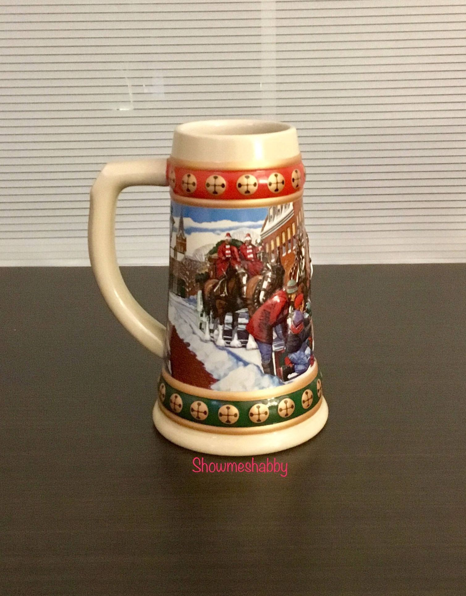 hometown holiday anheuser busch budweiser bud light christmas stein 1993 beer mug collectors glass drink cup collectible holiday stein by showmeshabby - Budweiser Christmas Steins