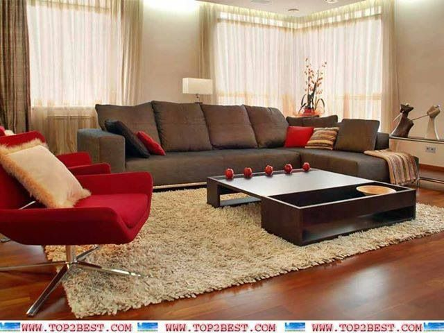Brown and red living room | Living room design green, Room ...