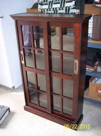 French Bookcase Dvd Display Cabinet With Two Sliding Glass Doors