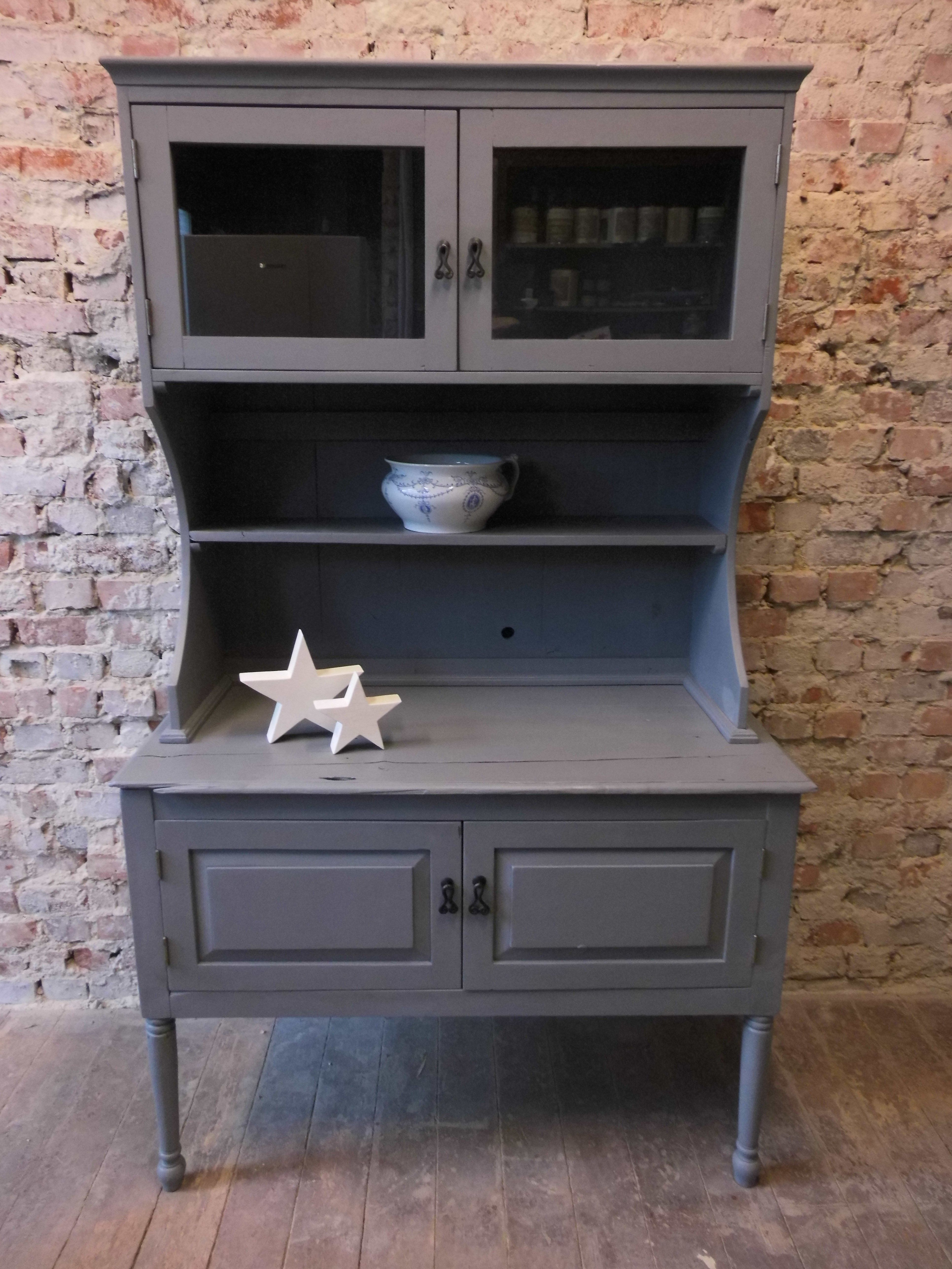 Vintage Cupboard Redone With Chalk Paint Grey Hampton Grey