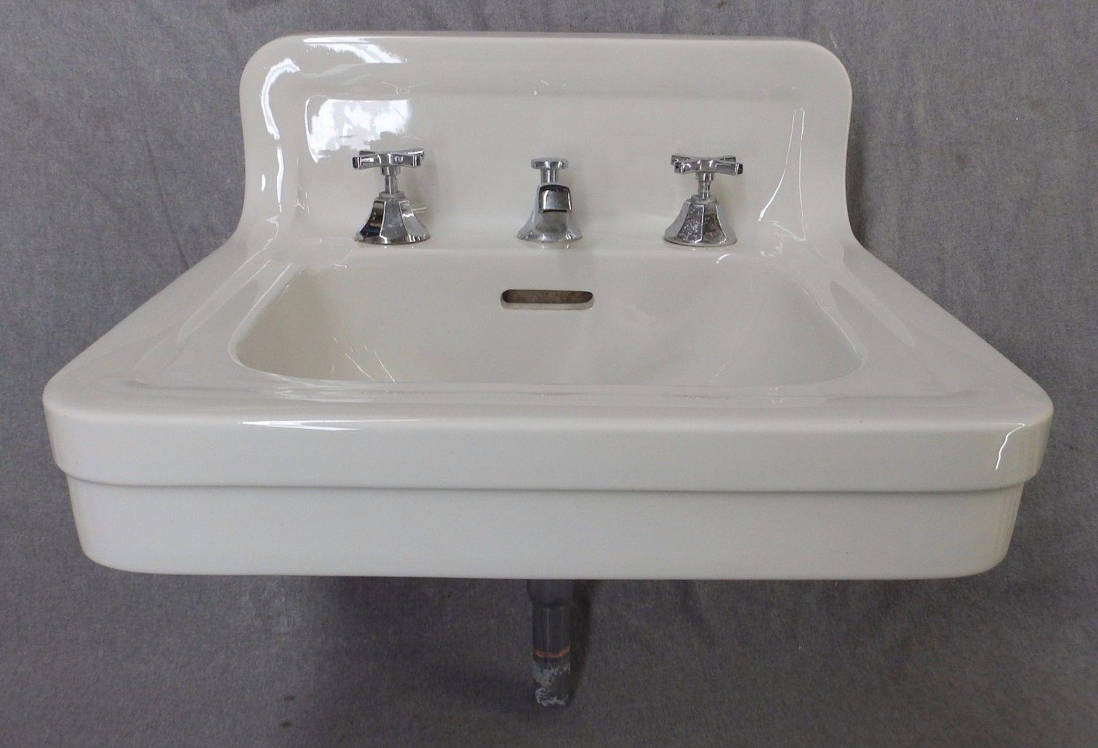 Antique White Porcelain Ceramic Bathroom Wall Sink Old Crane