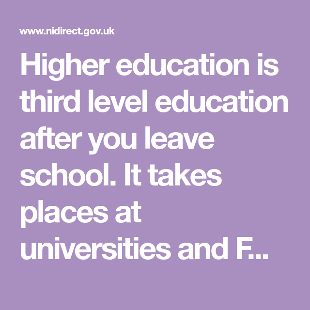 Higher Education Is Third Level Education After You Leave School