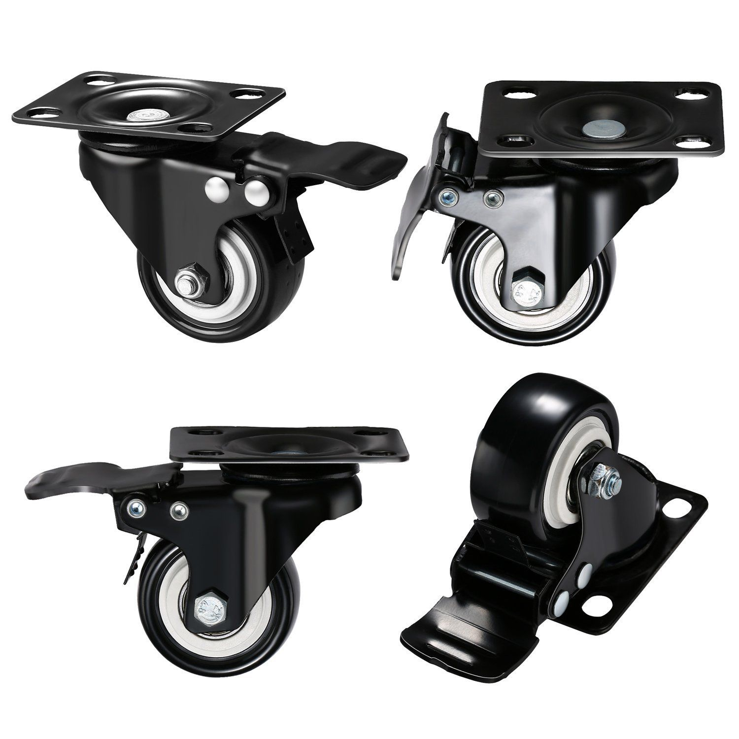"Plate Casters DICASAL 2"" Swivel Rubber Heavy Duty Furniture Castors"