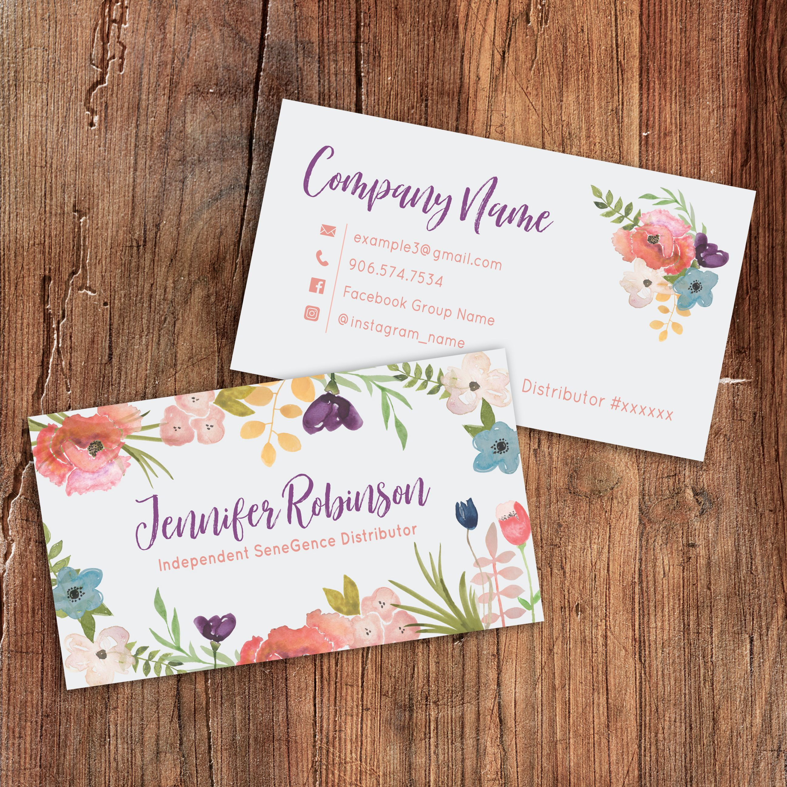 simply sapphire – lipsense business card design sold on etsy