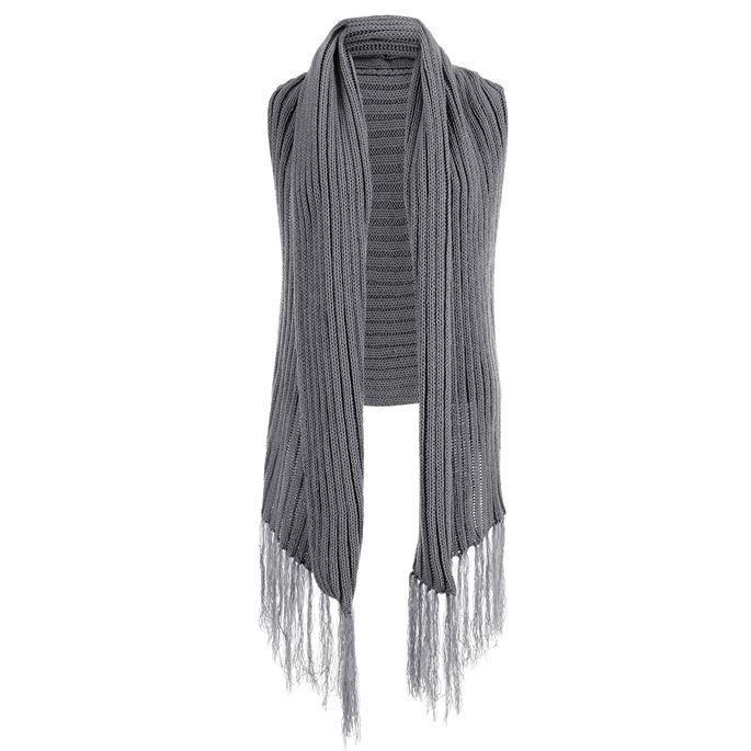 C+C Grey Ribbed Sweater Vest w/ Fringe