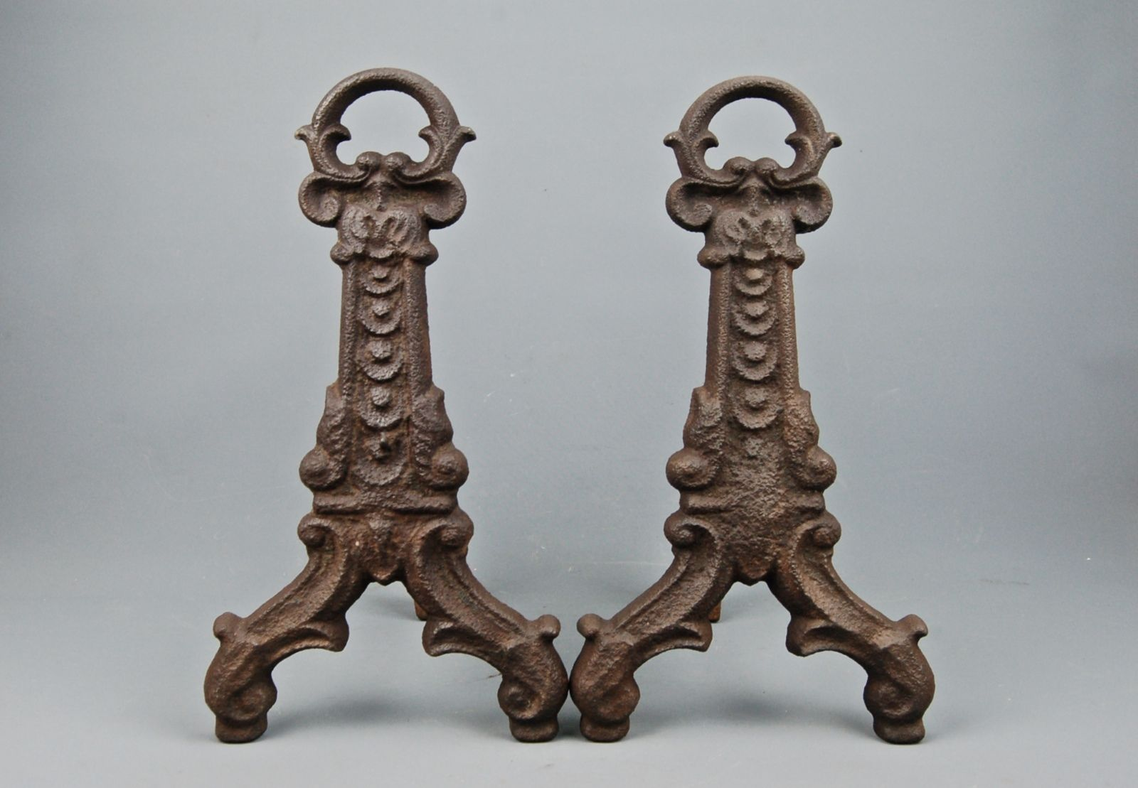 antique cast iron fireplace keyhole medieval andirons fire dogs