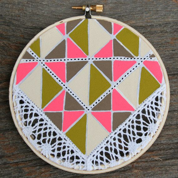 vintage lace, tribal-esqe fabric, embroidery hoop