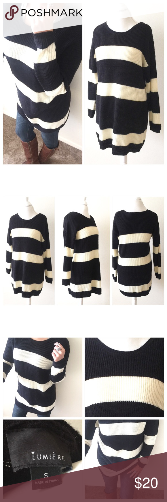 Lumiere Striped Tunic Sweater Top Lumiere Striped Tunic Sweater ...