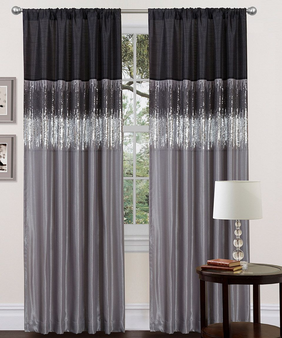 Gray curtains bedroom look what i found on zulily black u gray curtain panel by lush