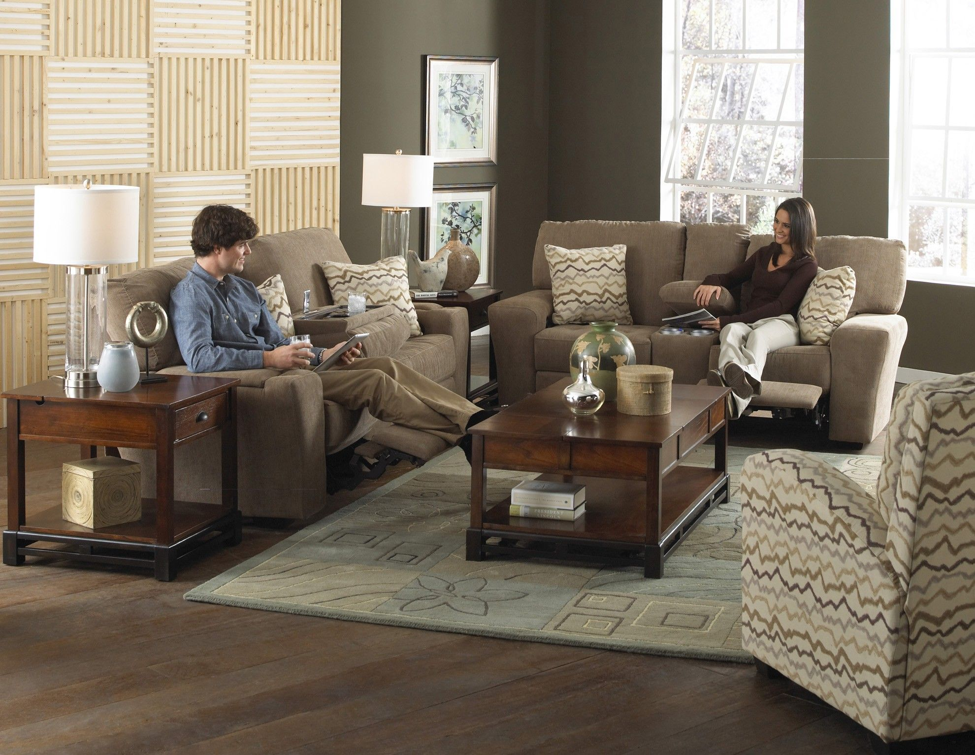 Catner Harrison Reclining Entertainment Sofa And Console Loveseat With Cupholders Sofas Sectionals
