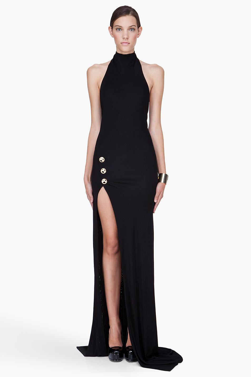 795908c3e4d Balmain Long Black Backless Side Slit Dress in Black