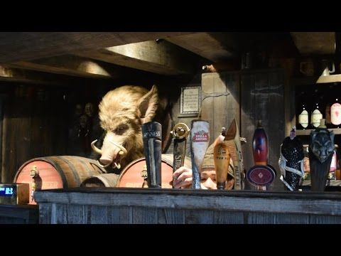 Three Broomsticks & Hog's Head Pub inside Wizarding World of Harry Potter at Universal Studios Hollywood.