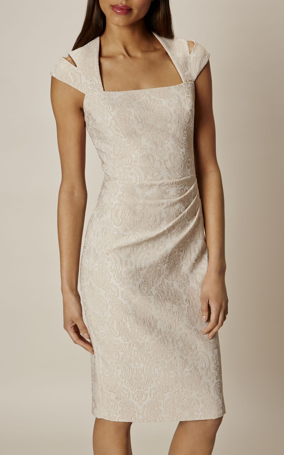 ce29670f795a Karen Millen, JACQUARD PENCIL DRESS Champagne | fashion | Dresses ...
