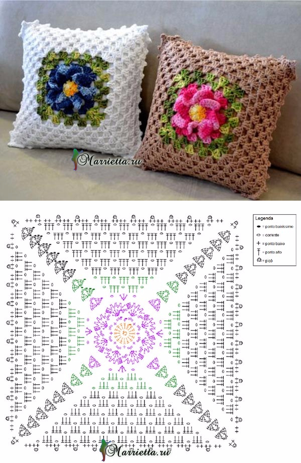 marrietta.ru | crochet squares | Pinterest | Croché, Ganchillo y Cojines