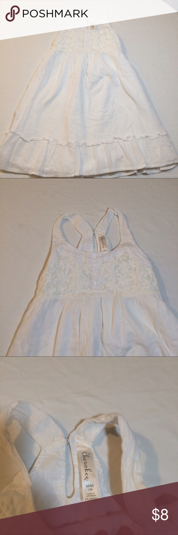 """Cherokee Girl's white dress size 7/8 Cherokee Girl's white dress in size 7/8. It is double lined. There are no stains or tears. Length: 27 1/2""""  width(armpit to armpit) 13"""" Cherokee Dresses Casual"""