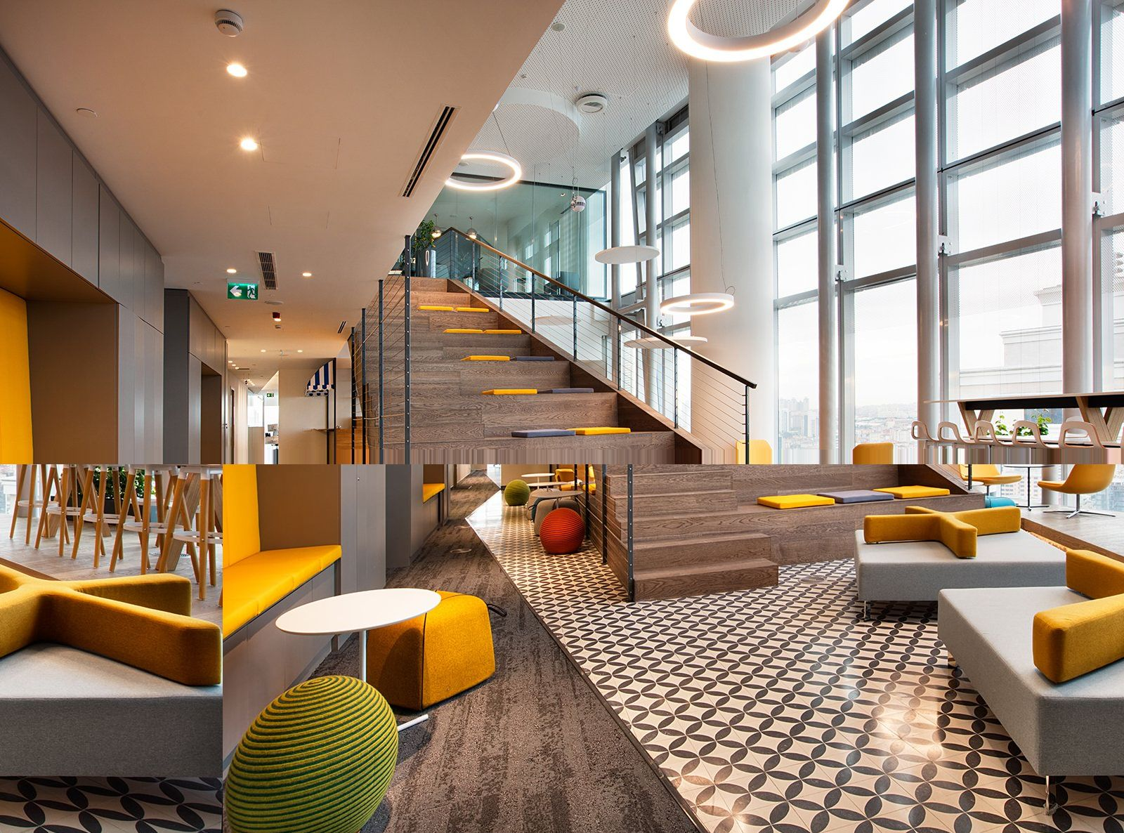 Tiered stadium seating and tiled floor from allianz offices istanbul
