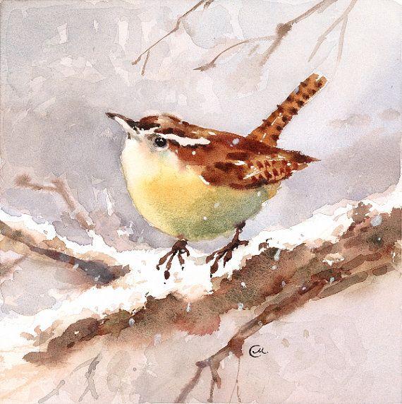 Wren Aquarelle Oiseau Original Peinture 7 X 7 Pouces Hiver