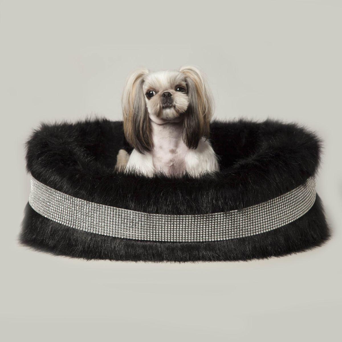 blinky band black faux fur dog bed Faux fur dog beds