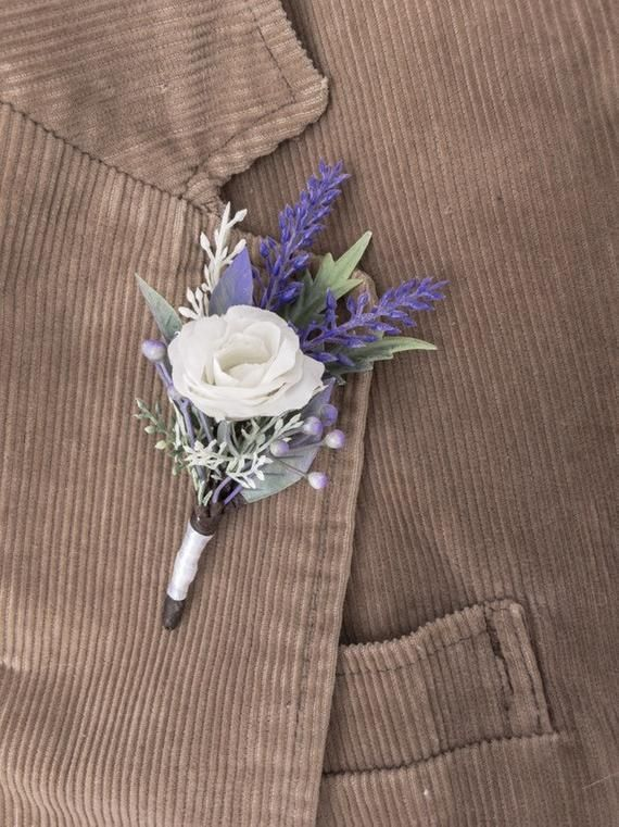 Rustic Boutonniere Groom, Lavender Wedding Man Flower Lapel Pin for Groomsman Gift, Woodland White Rose Pin, Purple Floral Brooch Bouquet #purpleweddingflowers MEASURES - - - - - - - - - - - - - - 10 cm (4) COLOR - - - - - - - - - - - - - - White rose, green herbs, green leafs, lavender Color may vary slightly from the photo. It... #haircomb #flowerhair #weddinghaircomb #bridalhairpiece #floralheadpiece #bridesmaidgift #bridesmaidhair #flowercomb #bridalhaircomb #weddingcomb #purpleweddingflowers