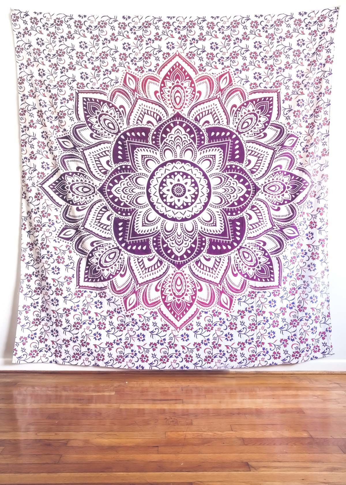 yoga wholesale pattern cotton mat medallion tapestry bluish