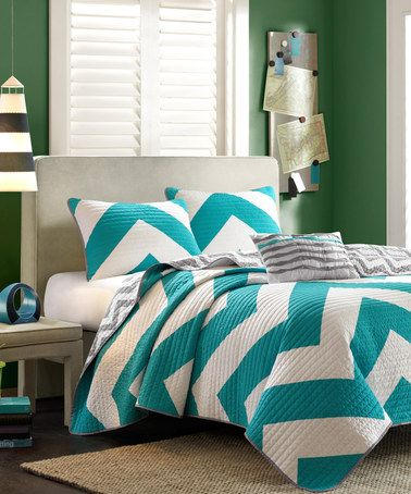 Another great find on #zulily! Blue Libra #Chevron Coverlet Set #zulilyfinds