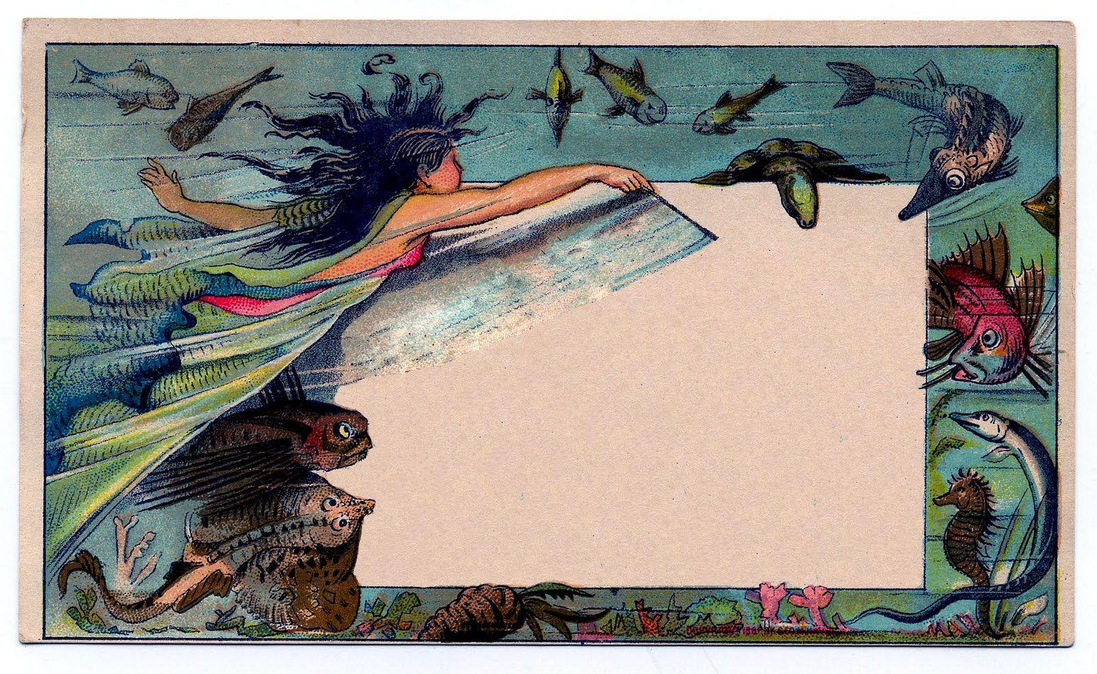 Mermaid Clip Art Ephemera